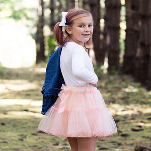 Soft Peach Tiered Tutu Skirt With Bow