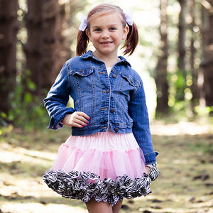 Pink Fluffy Tulle Tutu with Zebra Trim