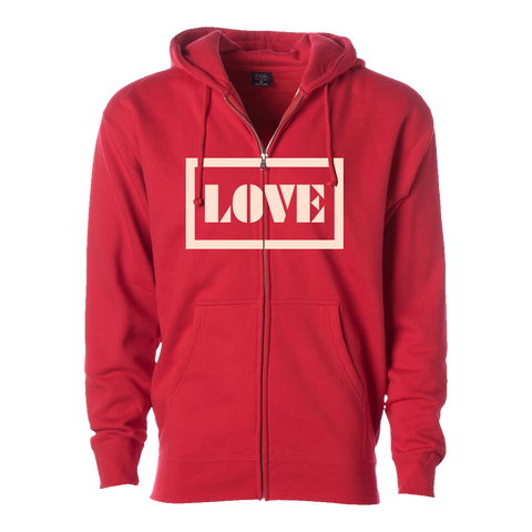 Love Zip Up Hoodie (Red)