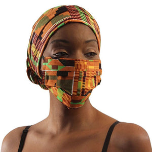 African Headwraps and Face Masks (Kente Cloth C)