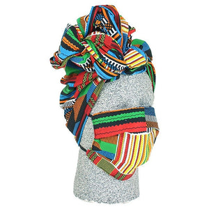 African Headwraps and Face Masks (Kente Cloth D)