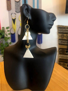 Abstract Diamond (White) Earrings