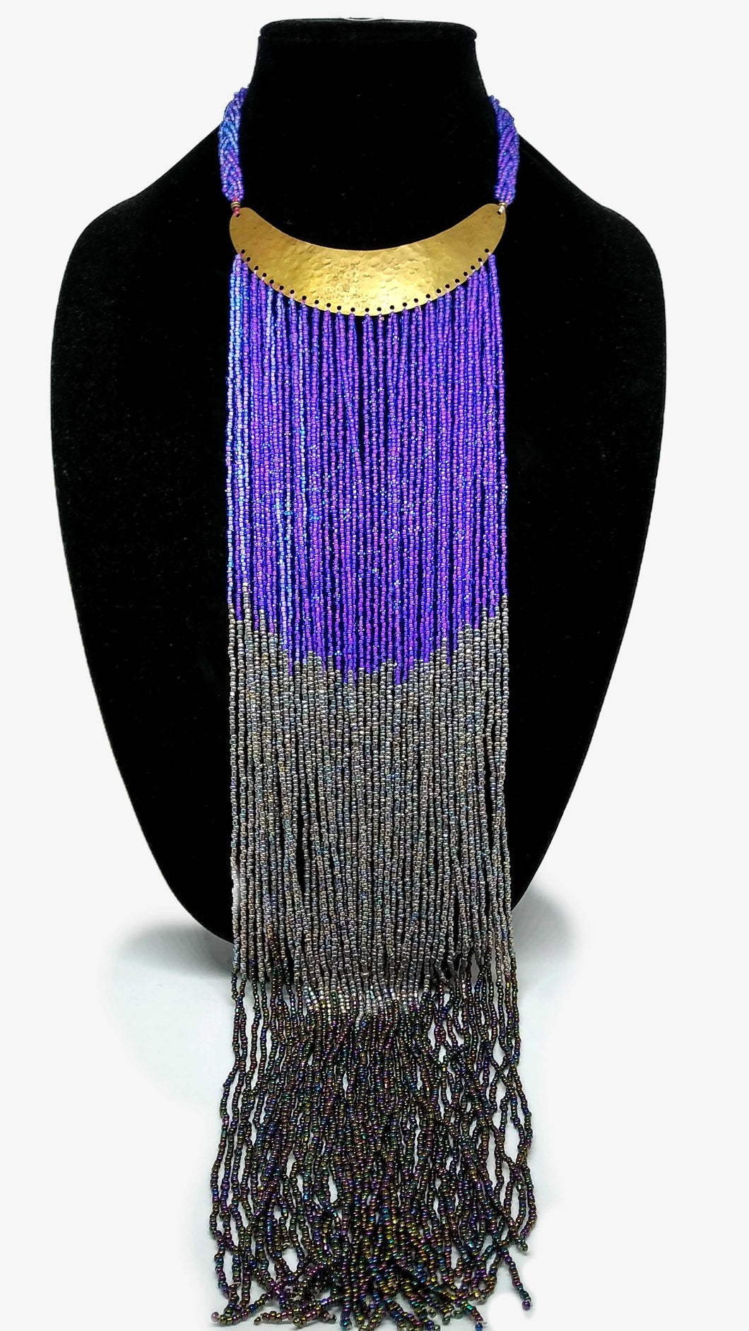 Maasai Necklace-Crescent: Purple & Grey