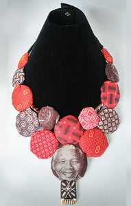 Necklace-Disc-Nelson Mandela: Blue & Brown