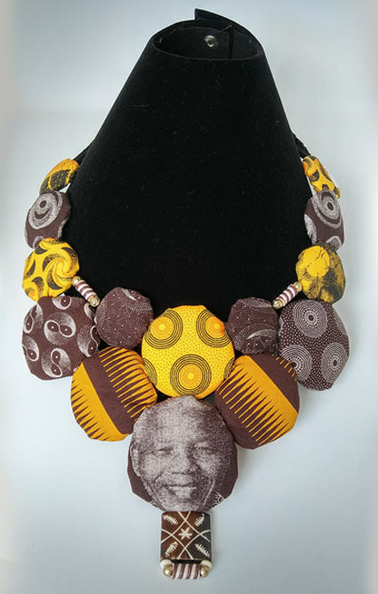Necklace-Disc-Nelson Mandela: Yellow & Brown