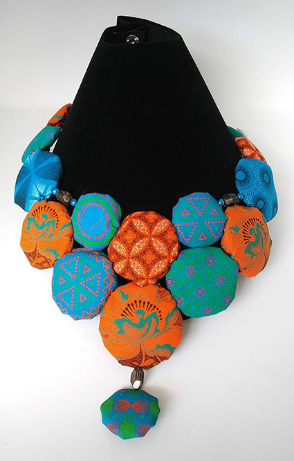 Necklace-Disc-Princess: Orange & Blue