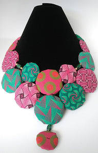 Necklace-Disc-Princess: Pink & Green