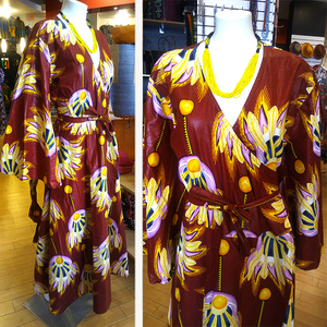 African Wax Wrap Dress with Bell Sleeves: Burgundy