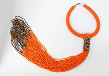 Maasai Necklace-Round Fringe: Orange