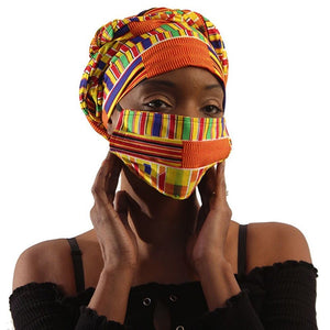 African Headwraps and Face Masks (Kente Cloth B)