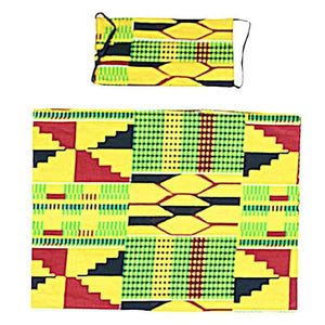 African Headwraps and Face Masks (Kente Cloth A)