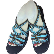 Pendo Front-Braid Slingbacks - Blue & Grey