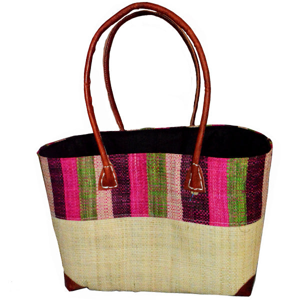 Raffia Bucket Bag-Aloe & Pink