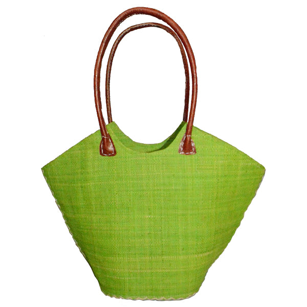 Raffia Trapezoid Bag_Green