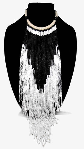Senegalese Necklace-V: Black & White