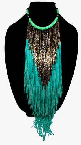 Senegalese Necklace-V: Metallic & Teal