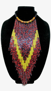 Senegalese Necklace-V: Light Blue & Black