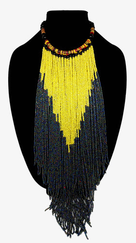 Senegalese Necklace-V: Yellow & Black