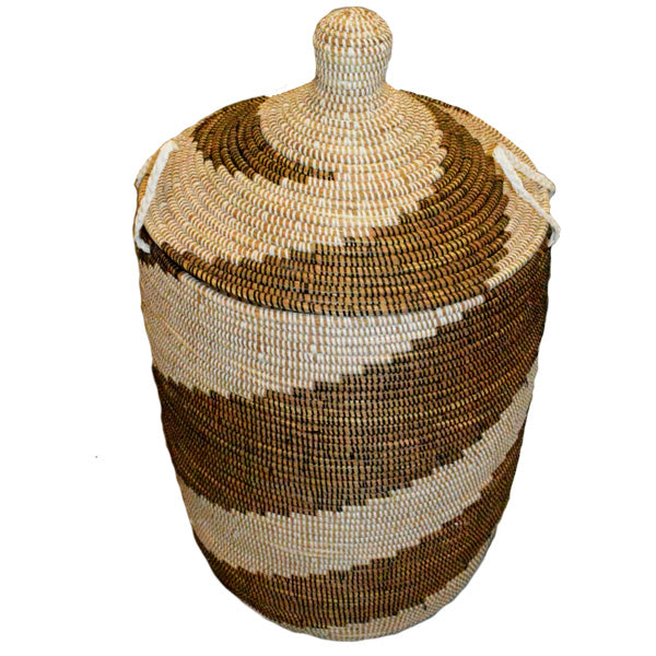 Hamper/Storage Basket - Brown & White Spiral