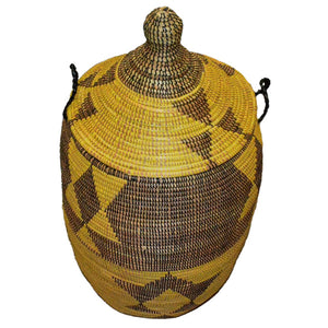 Hamper/Storage Basket - Brown & Yellow