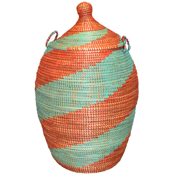 Hamper/Storage Basket - Turquoise & Red Spiral