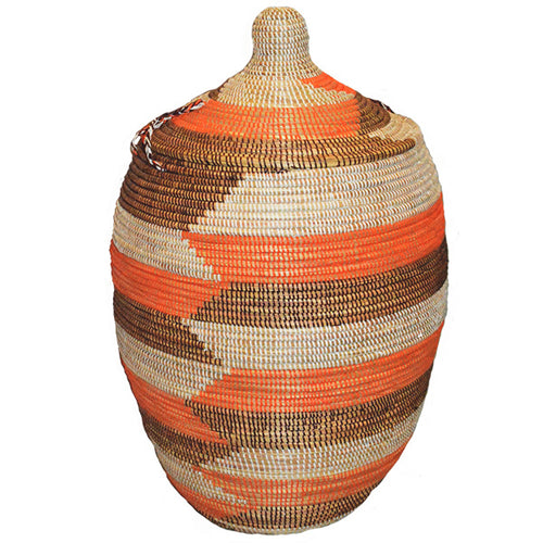 Hamper/Storage Basket - Orange & Brown