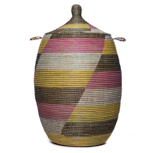 Hamper/Storage Basket - Pink, Yellow & Brown