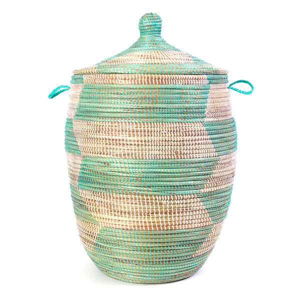 Hamper/Storage Basket - Teal & White