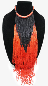 Senegalese Necklace-V: Black & Orange