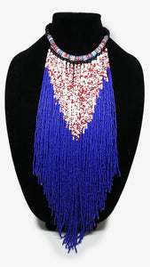 Senegalese Necklace-V: Red, White & Blue