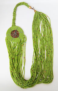 Maasai Necklace-String: Lime Green