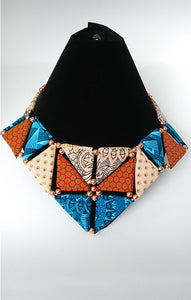 Necklace-Triangle_SM: Blue & Brown