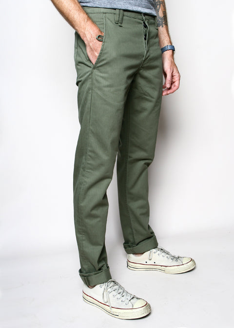 Rogue Territory Work Trouser Olive Herringbone Twill