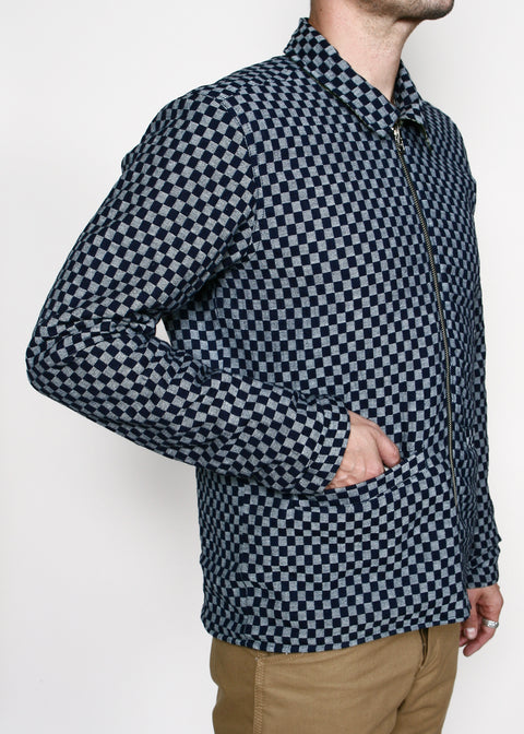 Reversible Engineer Jacket // Grid Camo/Checkered Indigo