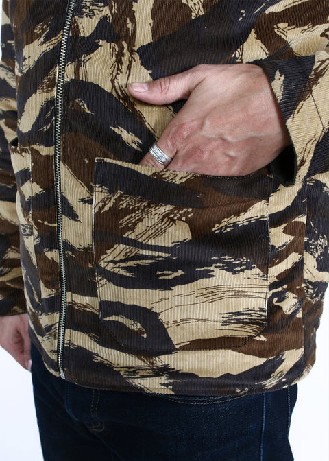 Reversible Engineer Jacket // Lizard Camo Corduroy/Pine Canvas