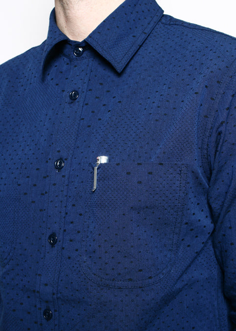Jumper Shirt // Navy Diamond Dot