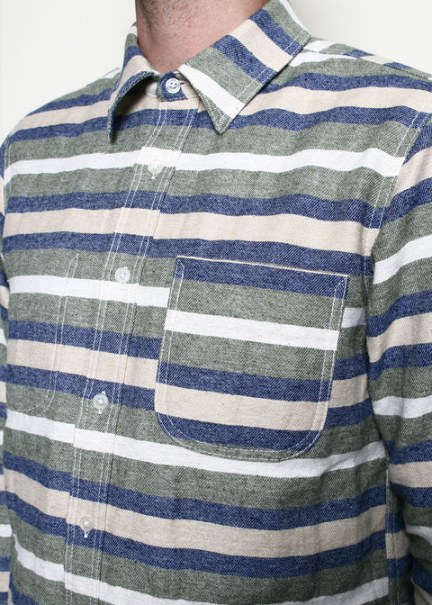 Jumper Shirt // Olive Stripe
