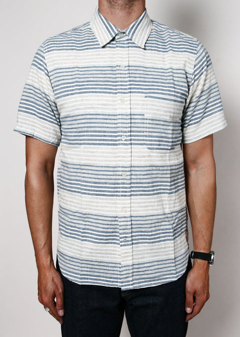 Short-Sleeve Jumper Shirt // Ocean Stripe