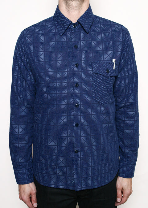 Oxford Work Shirt // Navy X-Stitch Sashiko