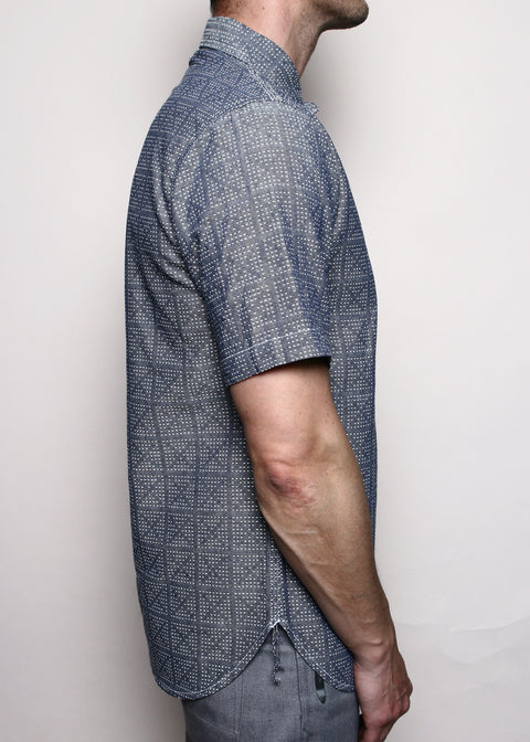 Popover Shirt // Blue X-Stitch Sashiko