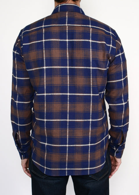 Rancher Shirt // Brown/Navy Neppy Plaid