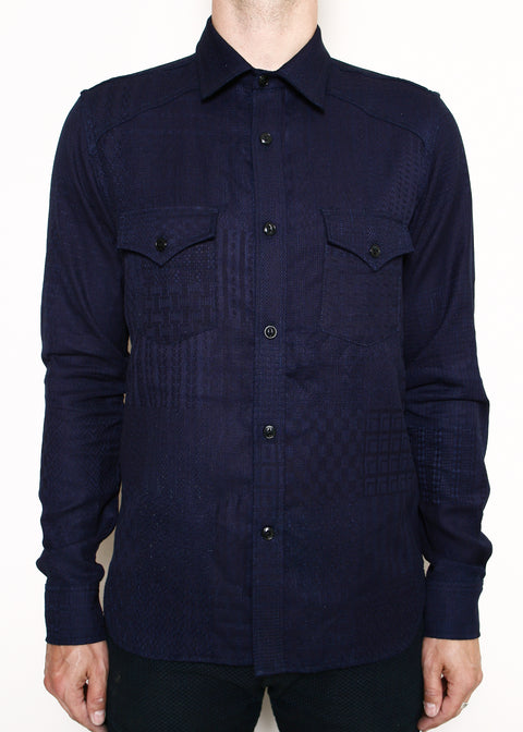 Western Shirt // Double Indigo Patchwork