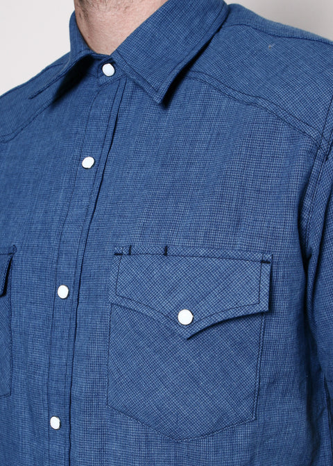 Short-Sleeve Western Shirt // Indigo Houndstooth
