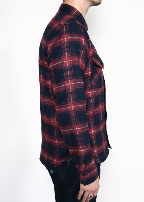 Western Shirt // Maroon Neppy Plaid