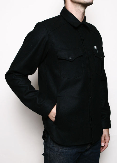Western Service Shirt // Black Wool