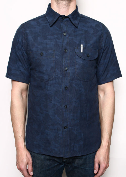 Short-Sleeve Work Shirt // Blue Camo Dobby