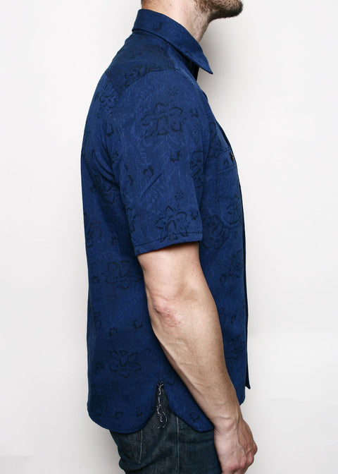 Short-Sleeve Work Shirt // Blue Floral Jacquard