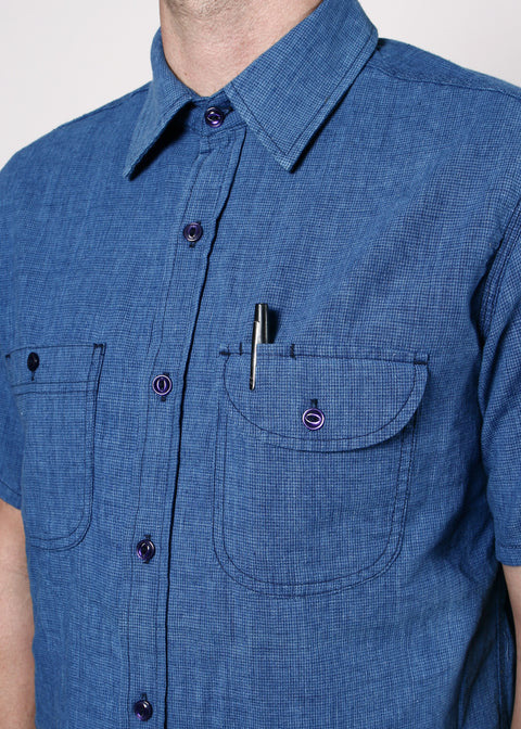 Short-Sleeve Work Shirt // Indigo Houndstooth