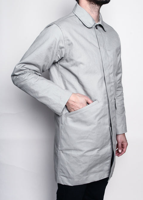 Rogue Territory Light Grey Canvas Trench Coat