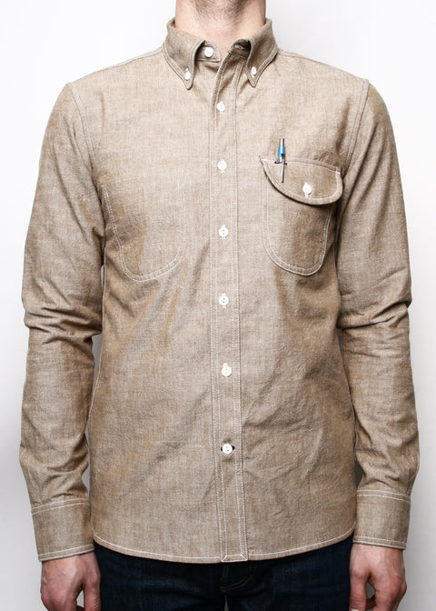 Rogue Territory Brown Chambray Jumper Shirt Long Sleeve